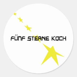 icono de Sterne Koch del fünf Pegatina Redonda