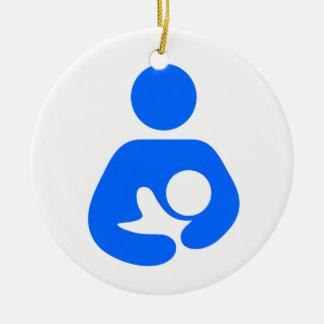 Icono del amamantamiento/del oficio de enfermera adorno navideño redondo de cerámica
