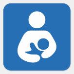 Icono del amamantamiento/del oficio de enfermera calcomanías cuadradass personalizadas