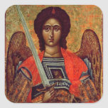 Icono del ángel Michael, Griego, siglo XVIII Pegatina Cuadrada