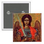 Icono del ángel Michael, Griego, siglo XVIII Pin Cuadrado