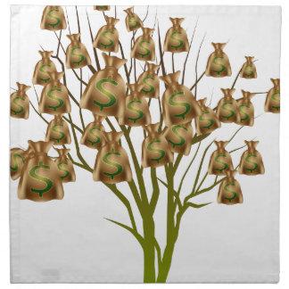 Icono del árbol del bolso del dinero servilleta
