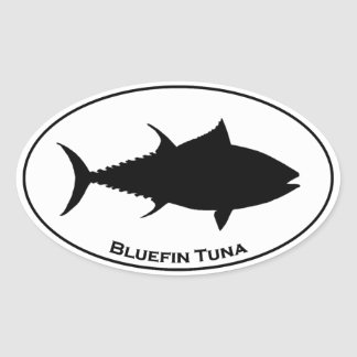 Icono del atún de Bluefin Pegatina Ovalada