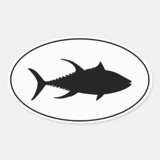 Icono del atún de trucha salmonada calcomanía de óval