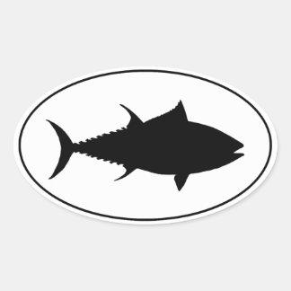 Icono del atún pegatina ovalada