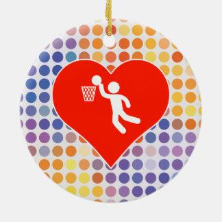 Icono del baloncesto adorno navideño redondo de cerámica