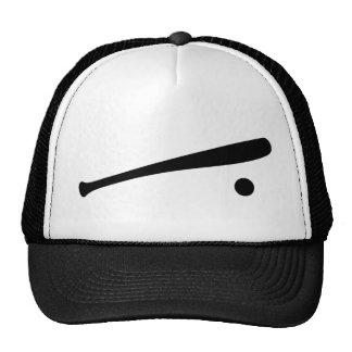 icono del bate de béisbol y de la bola gorras