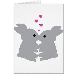icono del beso del conejito tarjeta de felicitación