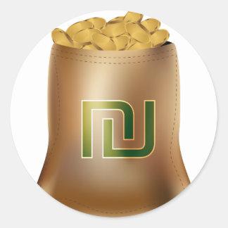 Icono del bolso del dinero de la moneda de oro del pegatina redonda