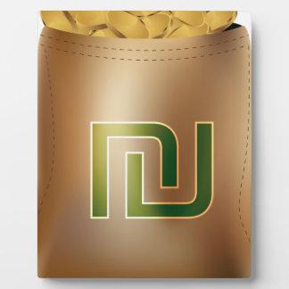 Icono del bolso del dinero de la moneda de oro del placas para mostrar