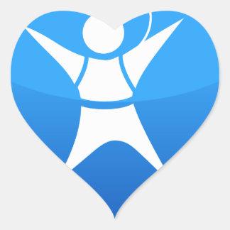 Icono del buceador del cielo pegatina en forma de corazón