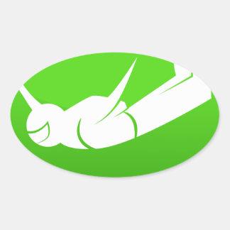 Icono del buceador del cielo pegatina ovalada