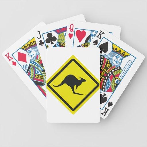 icono del canguro de Australia del roadsign Baraja Cartas De Poker