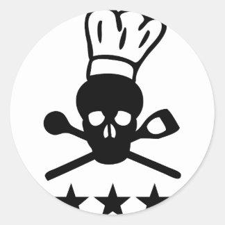 icono del cocinero del cráneo pegatinas redondas