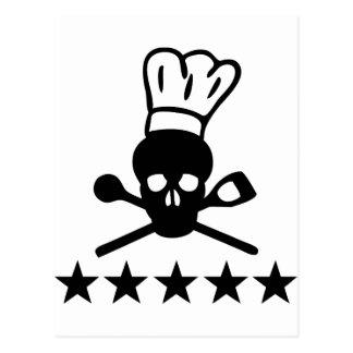 icono del cocinero del cráneo postal