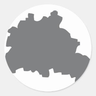 Icono del contorno de Berlín Pegatina Redonda