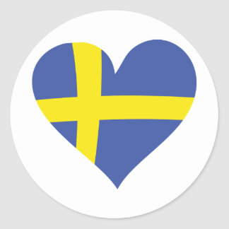 icono del corazón de Suecia Etiqueta Redonda