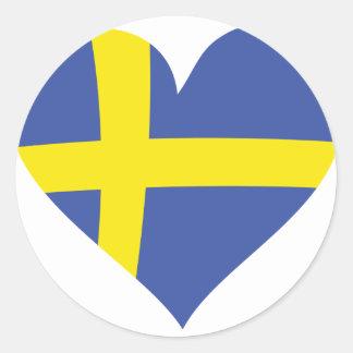 icono del corazón de Suecia Etiquetas Redondas