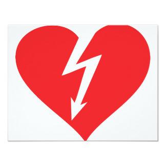 """icono del corazón del relámpago invitación 4.25"""" x 5.5"""""""