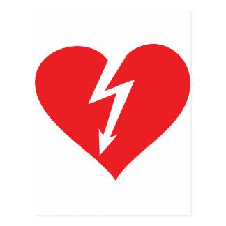 icono del corazón del relámpago postales