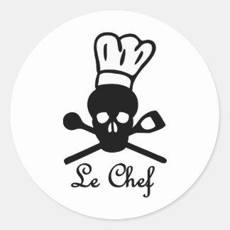 icono del cráneo de le chef pegatina redonda