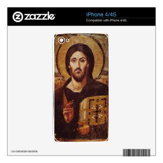 Icono del cristiano de Pantocrator del Jesucristo Calcomanía Para El iPhone 4