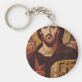 Icono del cristiano de Pantocrator del Jesucristo Llavero Redondo Tipo Pin
