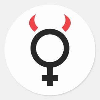 icono del diablo de la mujer pegatina redonda