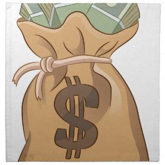 Icono del dibujo animado del bolso del dinero servilleta imprimida