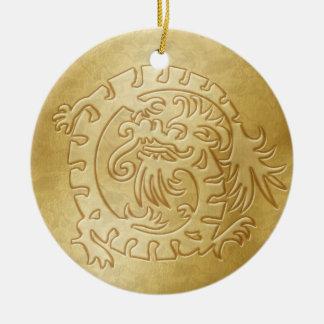 Icono del dragón - oro en el oro - 3 adorno navideño redondo de cerámica