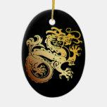 Icono del dragón - oro verde en negro - 1 adorno ovalado de cerámica
