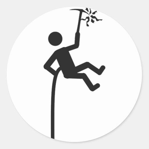icono del escalador de montaña etiqueta redonda