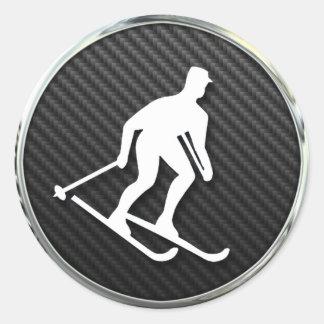 Icono del esquí pegatina redonda
