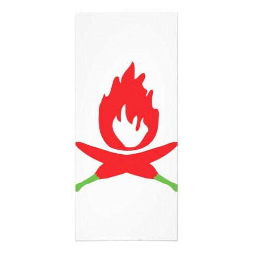 icono del fuego de los chiles diseño de tarjeta publicitaria