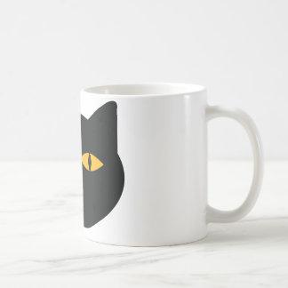 icono del gato negro taza básica blanca