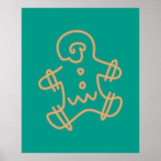 Icono del hombre de pan de jengibre póster