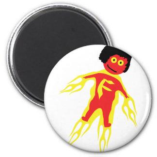 icono del hombre del fuego imán redondo 5 cm