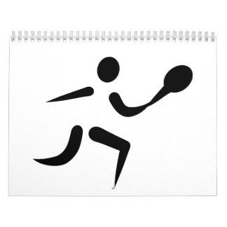 Icono del jugador de tenis calendario de pared