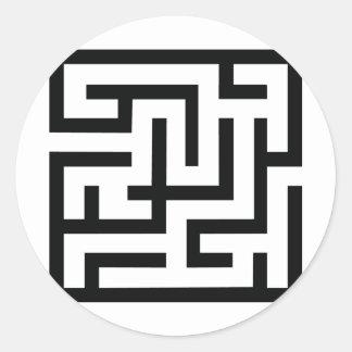 icono del laberinto etiqueta redonda