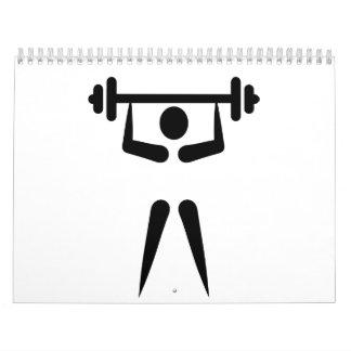 Icono del levantamiento de pesas calendarios