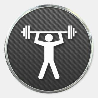 Icono del levantamiento de pesas pegatina redonda