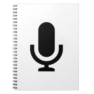 Icono del micrófono libro de apuntes