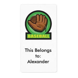 icono del mitón de la muestra del béisbol etiquetas de envío