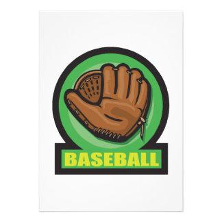 icono del mitón de la muestra del béisbol invitación personalizada