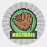 icono del mitón de la muestra del béisbol etiquetas redondas