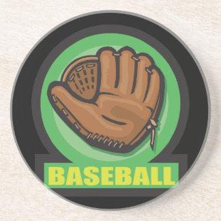icono del mitón de la muestra del béisbol posavasos de arenisca
