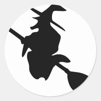 icono del negro de la bruja de Halloween Pegatina Redonda