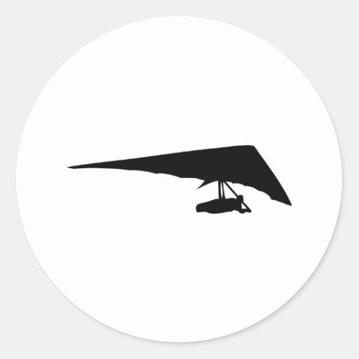 icono del negro del planeador de caída pegatina redonda