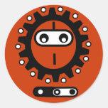 Icono del ninja de la bici etiquetas redondas
