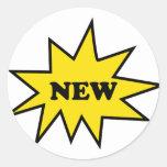 Icono del nuevo producto pegatina redonda